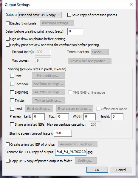 Photobooth-Deluxe Breeze DSLRRemotePro Output Settings