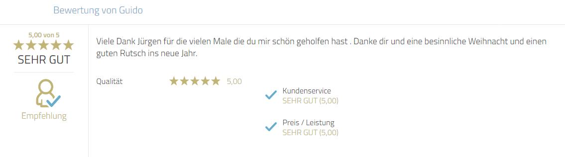 Kundenempfehlung zum Service und persönlicher Dank an Mayr Jürgen.