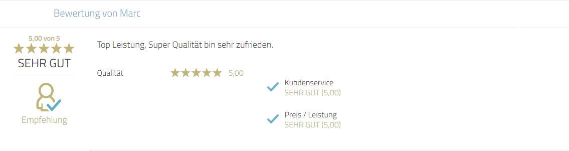 Kundenempfehlung für Photobooth-Deluxe zur Leistung, Qualität und Zufriedenheit.