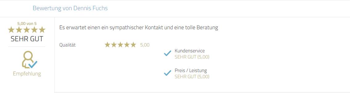 Kundenbewertung für Photobooth-Deluxe für Beratung und Service.