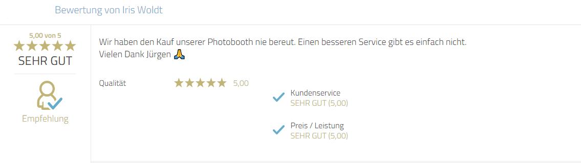 Kundenrezension zum Service und persönlicher Gruß an Jürgen Mayr von Photobooth-Deluxe.