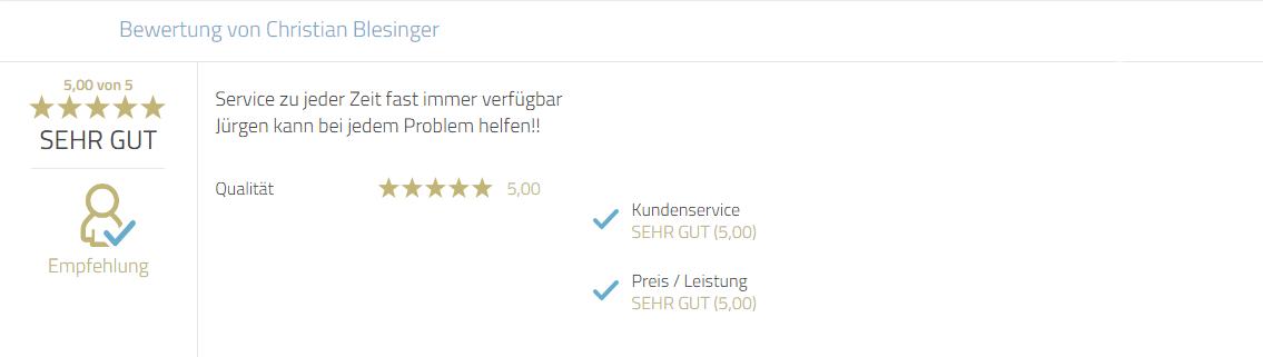 Kundenrezension für Photobooth-Deluxe und Mayr Jürgen für Service und Problemlösungen.