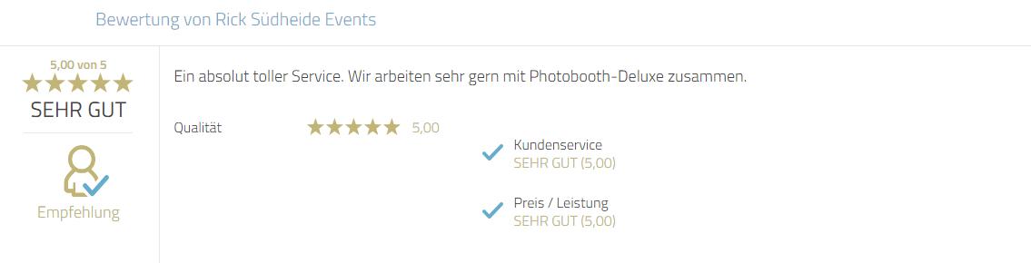 Kundenrezension für Photobooth-Deluxe zum Service und zur Zusammenarbeit.