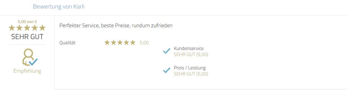 Kundenrezension für Photobooth-Deluxe zum Service und Preis.