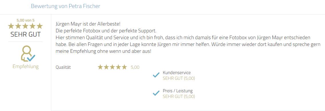 Kundenbewertung für Photobooth-Deluxe und Mayr Jürgen für Service, Qualität und Problemlösungen. Eine besondere Empfehlung wurde ausgesprochen.