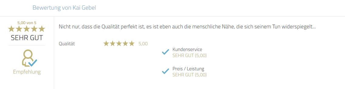 Kundenbewertung zur Qualität und Service von Photobooth-Deluxe und Mayr Jürgen.