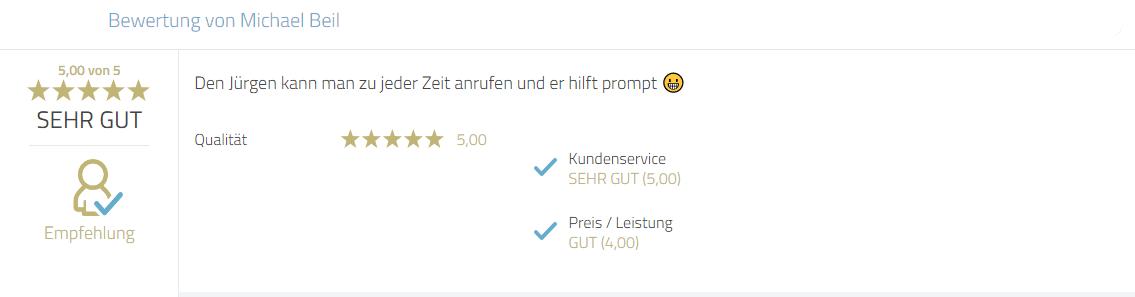 Kundenbewertung zum Service von Photobooth-Deluxe und Mayr Jürgen.