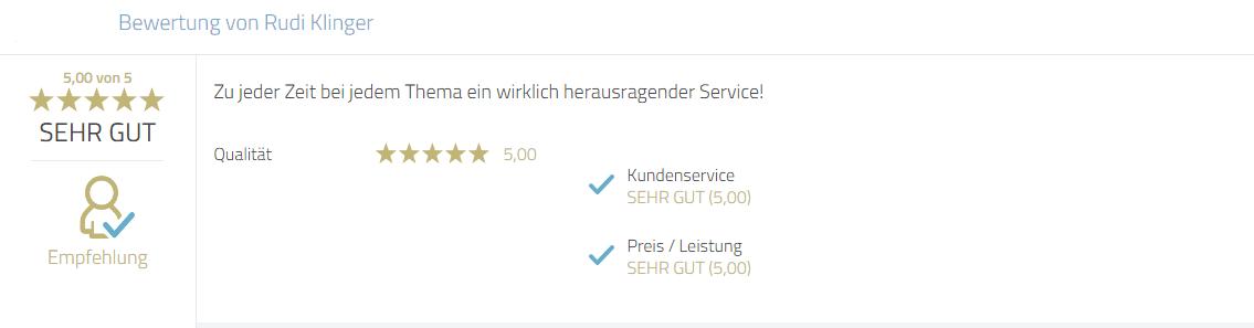 Kundenbewertung zum Service von Photobooth-Deluxe.