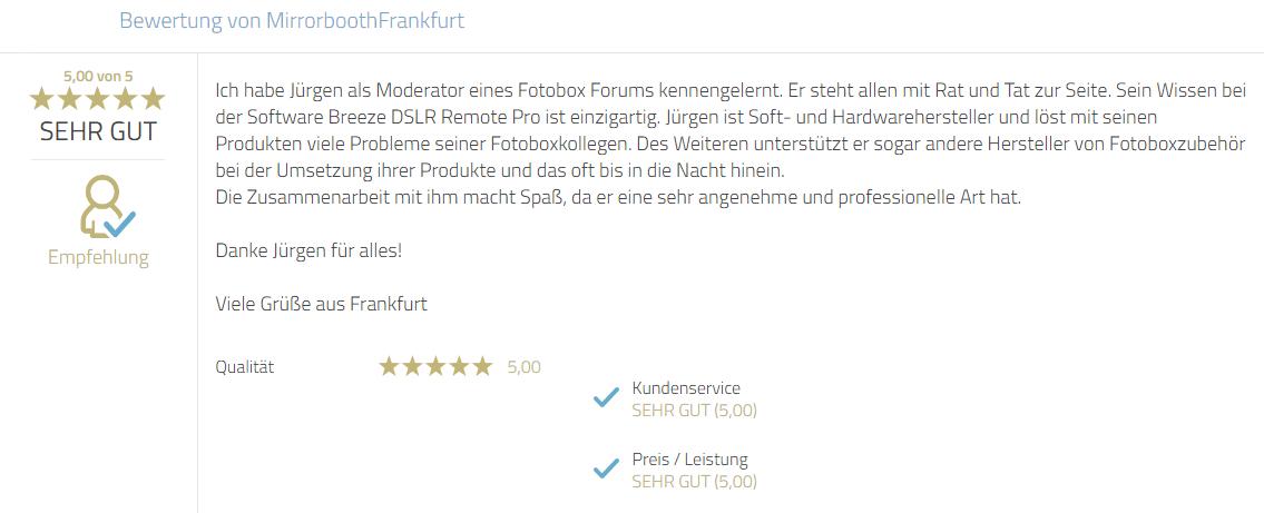 Kundenbewertung zu Service, Fachkompetenz sowie Hilfsbereitschaft. Besonders hervorgehoben wird das professionelle Auftreten und angenehme Wesen von Mayr Jürgen.