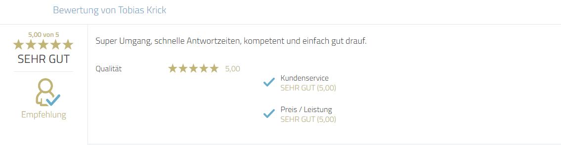Kundenbewertung für Photobooth-Deluxe zum Service und Reaktionszeiten sowie Kompetenz.