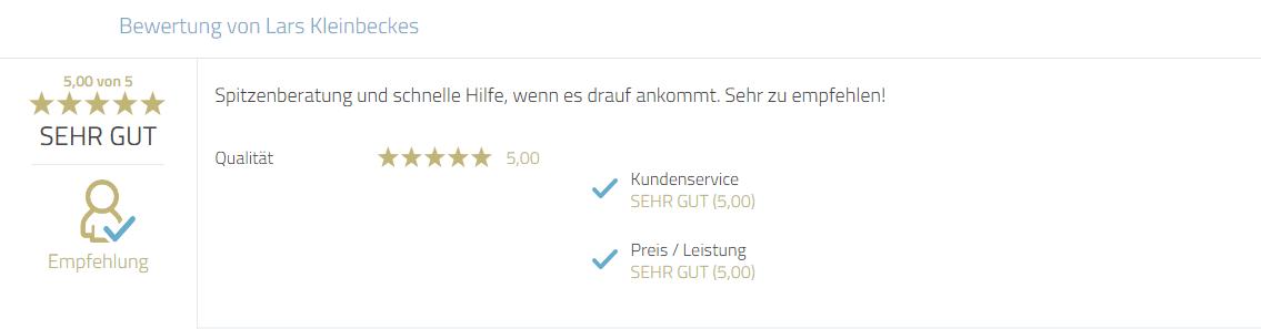 Kundenbewertung zum Service und zur Beratungsleistung von Herrn Mayr Jürgen. Eindeutige Empfehlung.