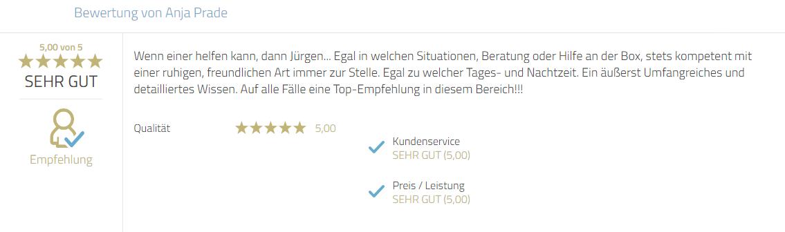 Kundenbewertung zum Service, Hilfsbereitschaft und Beratungsleistung von Mayr Jürgen. Sehr kompetent und freundlich zu jeder Tageszeit. Top Empfehlung.