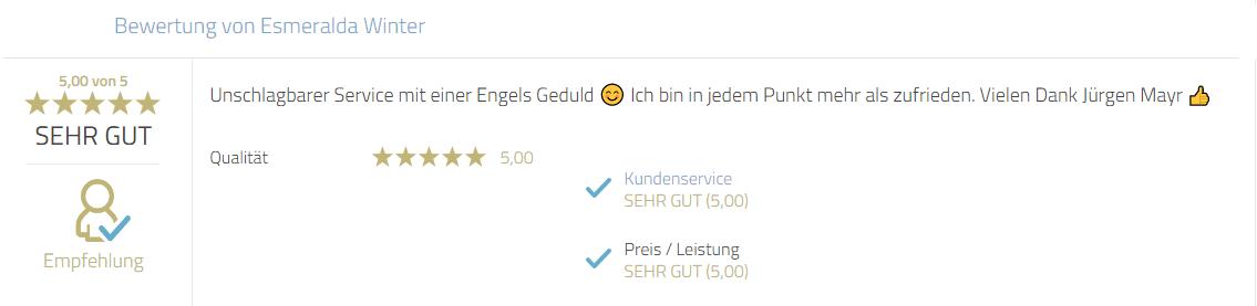 Kundenbewertung zum Service von Photobooth-Deluxe. Persönlicher Dank an Mayr Jürgen.